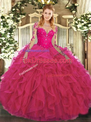 Simple Long Sleeves Tulle Floor Length Lace Up Sweet 16 Quinceanera Dress in Hot Pink with Lace and Ruffles