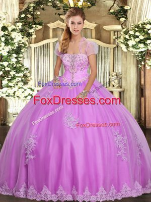 Customized Lilac Tulle Lace Up Ball Gown Prom Dress Sleeveless Floor Length Appliques