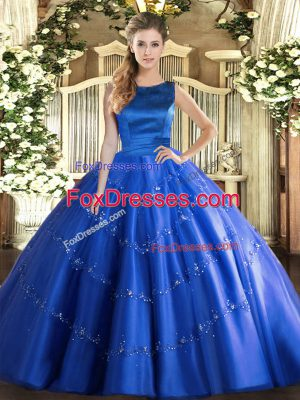 Enchanting Blue Tulle Lace Up Scoop Sleeveless Floor Length Quinceanera Gowns Appliques