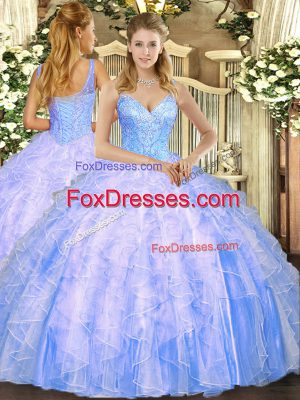 Exceptional Sleeveless Floor Length Beading and Ruffles Lace Up Quinceanera Dresses with Light Blue