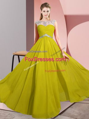 Sleeveless Clasp Handle Floor Length Beading