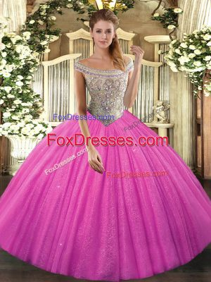 Sleeveless Tulle Lace Up Quince Ball Gowns in Hot Pink with Beading