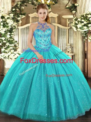 Sleeveless Tulle Floor Length Lace Up Sweet 16 Quinceanera Dress in Aqua Blue with Beading and Embroidery