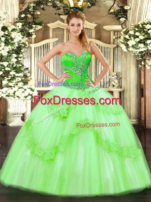 Decent Sweetheart Lace Up Beading and Ruffles Quince Ball Gowns Sleeveless