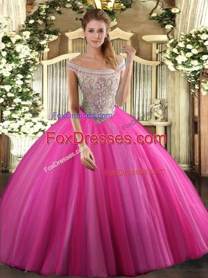 Fashion Hot Pink Sweet 16 Dress Sweet 16 and Quinceanera with Beading Off The Shoulder Sleeveless Lace Up