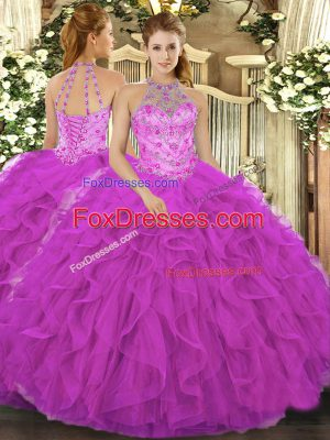 Fuchsia Halter Top Lace Up Beading and Embroidery and Ruffles 15th Birthday Dress Sleeveless