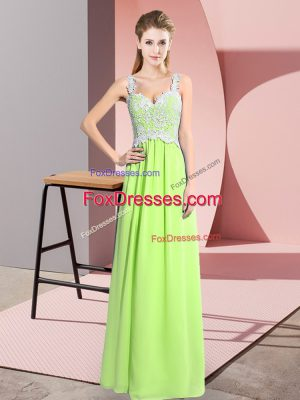Yellow Green V-neck Zipper Lace Prom Gown Sleeveless