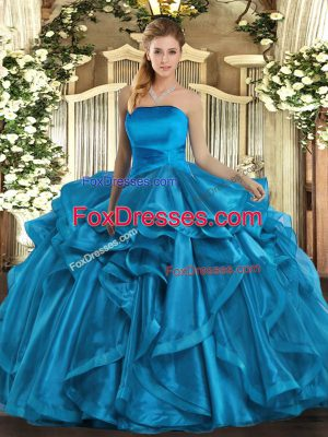 Strapless Sleeveless Lace Up Sweet 16 Dresses Baby Blue Organza