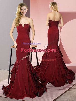 Custom Design Burgundy Sleeveless Ruffles Side Zipper Prom Dresses