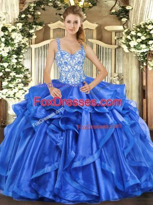 Ideal Blue Lace Up 15th Birthday Dress Beading and Ruffles Sleeveless Floor Length
