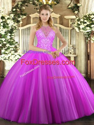 Beading Quinceanera Gown Fuchsia Lace Up Sleeveless Floor Length