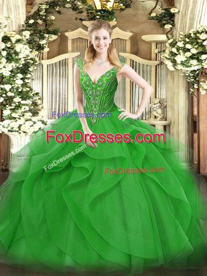 Green Lace Up V-neck Beading and Ruffles Sweet 16 Dresses Tulle Sleeveless