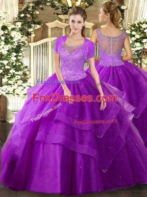 Sumptuous Eggplant Purple Sleeveless Beading and Ruffles Floor Length Sweet 16 Dress