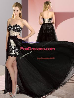 Fancy White And Black Column/Sheath Tulle Sweetheart Sleeveless Embroidery High Low Lace Up Prom Evening Gown