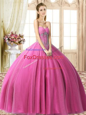 Beading Quince Ball Gowns Fuchsia Lace Up Sleeveless Floor Length
