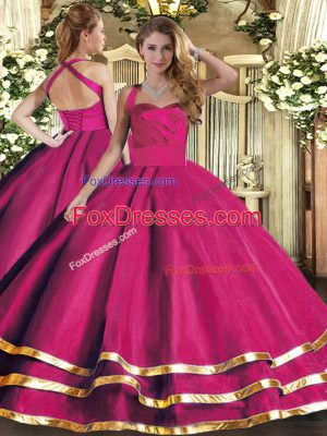Flirting Ball Gowns Quinceanera Dress Hot Pink Halter Top Tulle Sleeveless Floor Length Lace Up