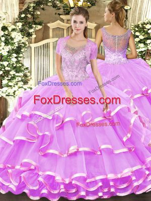 Smart Lilac Clasp Handle Scoop Beading and Ruffled Layers Quince Ball Gowns Tulle Sleeveless