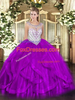 Beautiful Sleeveless Tulle Floor Length Zipper 15 Quinceanera Dress in Eggplant Purple with Beading and Ruffles