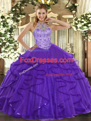 Purple Sleeveless Beading and Ruffles Floor Length 15th Birthday Dress