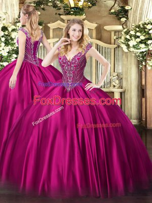Charming V-neck Sleeveless Lace Up Vestidos de Quinceanera Fuchsia Satin