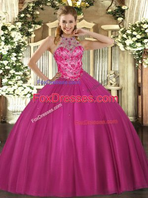 Low Price Halter Top Sleeveless Satin Sweet 16 Dress Beading Lace Up