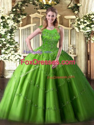 Customized Ball Gowns Quinceanera Gowns Scoop Tulle Sleeveless Floor Length Zipper