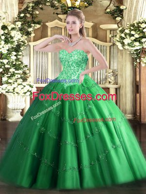 Sleeveless Lace Up Floor Length Appliques Vestidos de Quinceanera