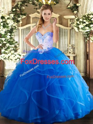 Chic Sleeveless Floor Length Beading and Ruffles Lace Up Sweet 16 Quinceanera Dress with Blue
