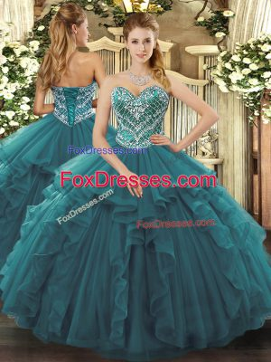 Turquoise Tulle Lace Up Sweetheart Sleeveless Floor Length Quinceanera Dress Beading and Ruffles