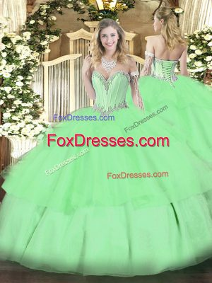 Sleeveless Floor Length Beading and Ruffled Layers Lace Up Sweet 16 Dress with Apple Green