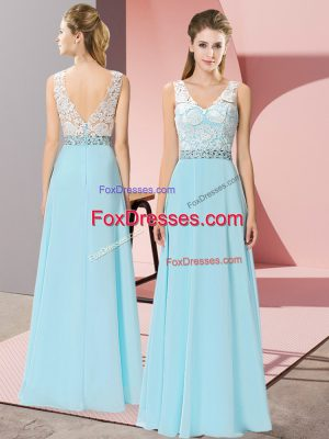 Elegant Sleeveless Chiffon Floor Length Backless Evening Dress in Aqua Blue with Beading
