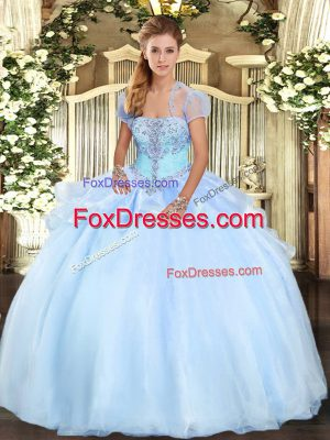 Light Blue Ball Gowns Strapless Sleeveless Organza Floor Length Lace Up Appliques 15 Quinceanera Dress