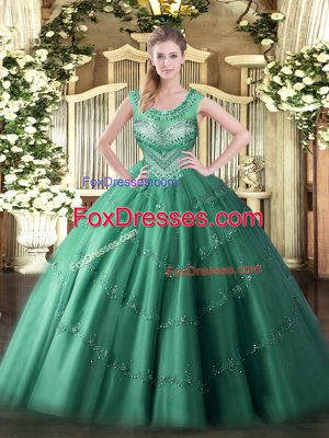 Nice Dark Green Sleeveless Floor Length Beading and Appliques Lace Up Quinceanera Gown