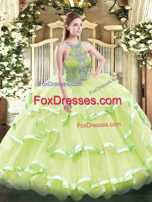 Exceptional Sleeveless Tulle Floor Length Lace Up 15th Birthday Dress in Yellow Green with Beading and Ruffled Layers