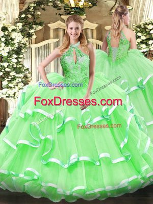 Sleeveless Organza Floor Length Lace Up Sweet 16 Quinceanera Dress in with Beading and Ruffles