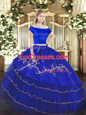 Fantastic Off The Shoulder Short Sleeves Organza and Taffeta Sweet 16 Dress Embroidery and Ruffled Layers Zipper