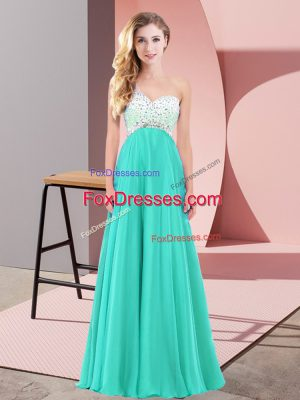 Turquoise Prom Dress Prom and Party with Beading One Shoulder Sleeveless Criss Cross