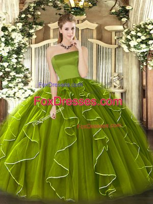 Perfect Tulle Sleeveless Floor Length 15th Birthday Dress and Ruffles