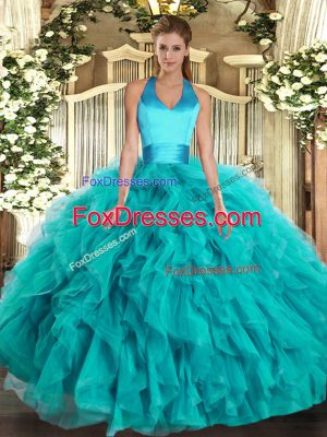 Customized Halter Top Sleeveless 15th Birthday Dress Floor Length Ruffles Turquoise Organza