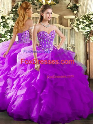 Fancy Purple Lace Up Sweetheart Embroidery and Ruffles Quinceanera Dresses Organza Sleeveless
