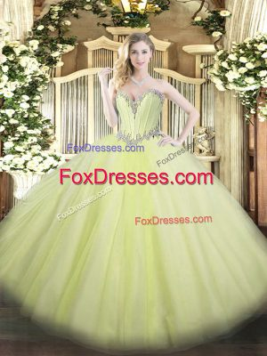 Latest Floor Length Yellow Green Quinceanera Dress Sweetheart Sleeveless Lace Up