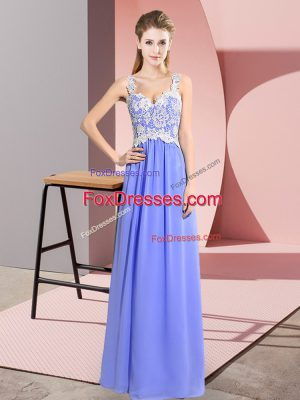 Sleeveless Floor Length Lace Zipper Prom Dress with Lavender