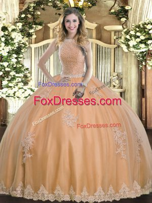 Flare Sleeveless Beading and Appliques Lace Up Sweet 16 Quinceanera Dress