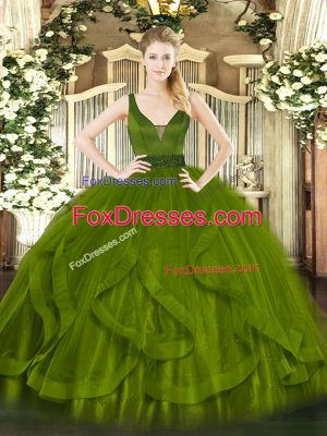 Clearance Olive Green Sleeveless Beading and Ruffles Floor Length Sweet 16 Dresses