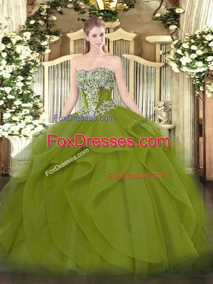 Glittering Olive Green Lace Up Quinceanera Dresses Beading and Ruffles Sleeveless Floor Length