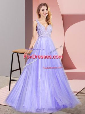 Lavender A-line Lace Prom Evening Gown Zipper Tulle Sleeveless Floor Length