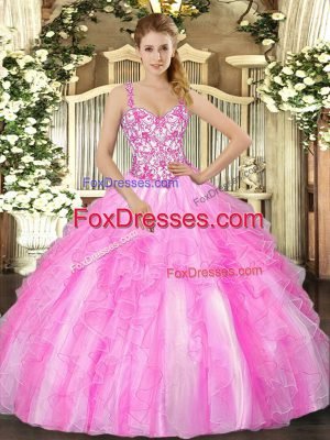 Smart Floor Length Lilac Quince Ball Gowns Organza Sleeveless Appliques and Ruffles