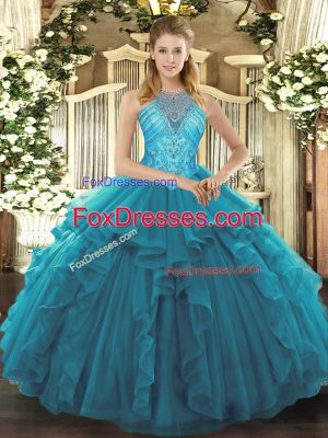 Elegant Asymmetrical Teal 15th Birthday Dress High-neck Sleeveless Lace Up