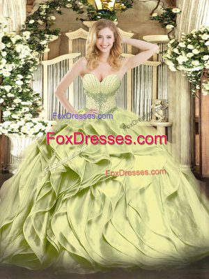 Beading and Ruffles Vestidos de Quinceanera Olive Green Lace Up Sleeveless Floor Length
