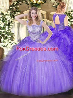 Elegant Floor Length Lace Up Quinceanera Dresses Lavender for Sweet 16 and Quinceanera with Beading